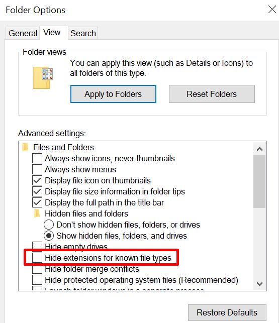 Folder options Unhide extensions
