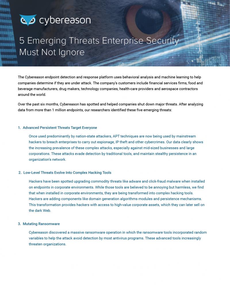 Five Emerging Threats