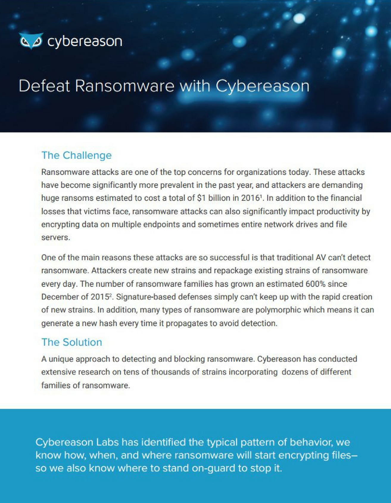 Defeating Ransomware with Cybereason