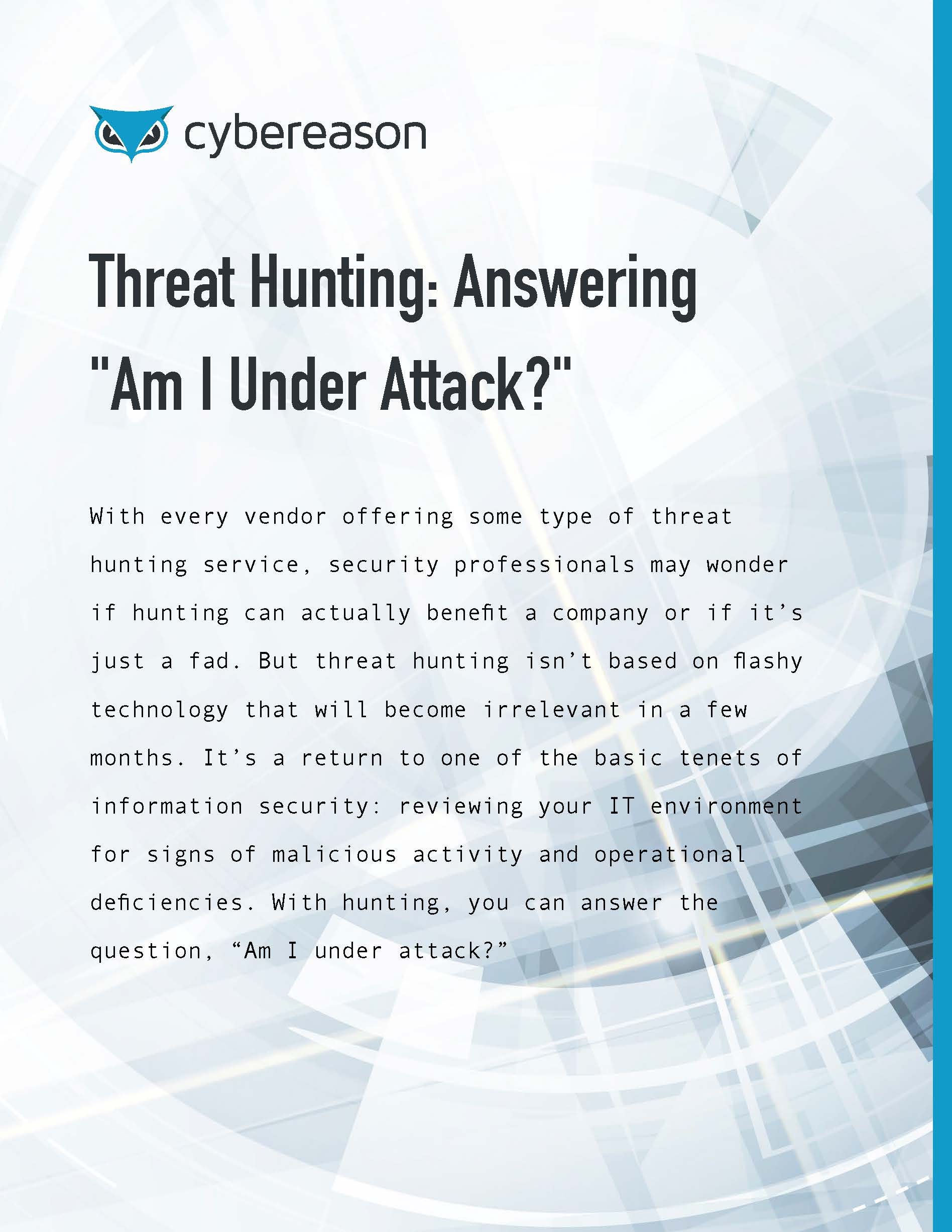 Cyber Threat Hunting Answering Am I Under Attack?