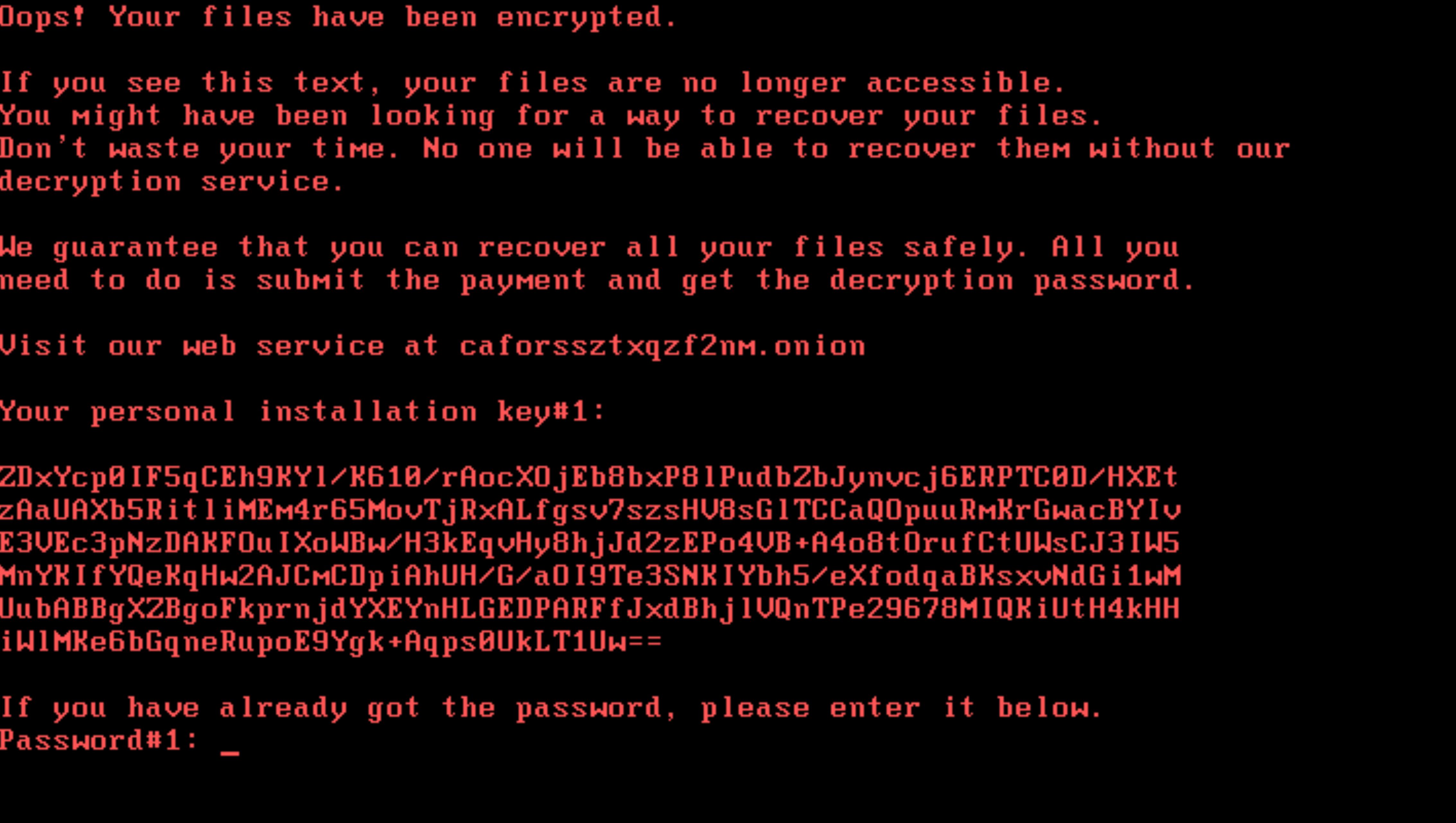 Encryption screen