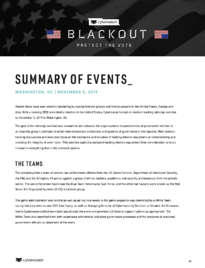 Operation Blackout Summary of Events