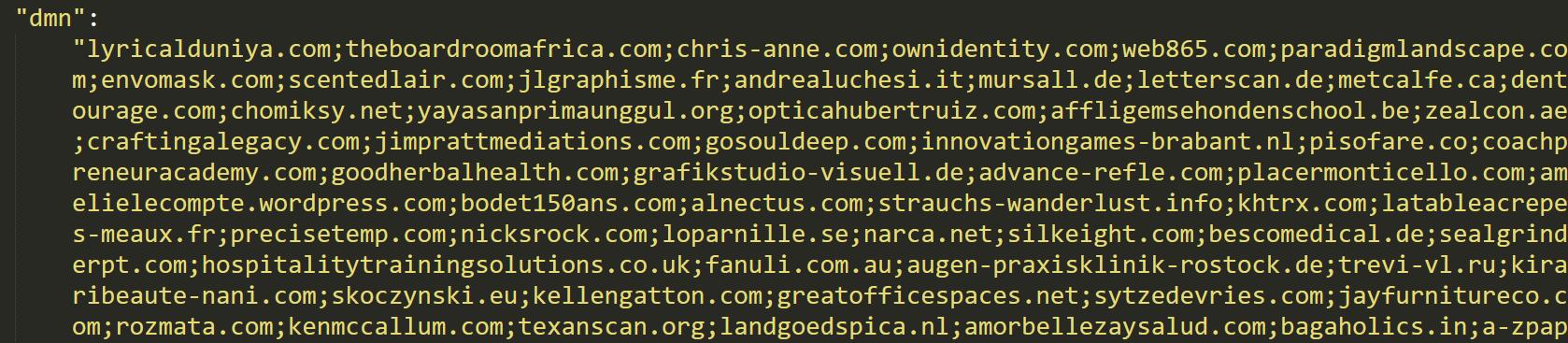 Sodinokibi domain list from the configuration file