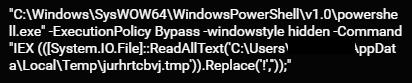 Sodinokibi command to execute the PowerShell script