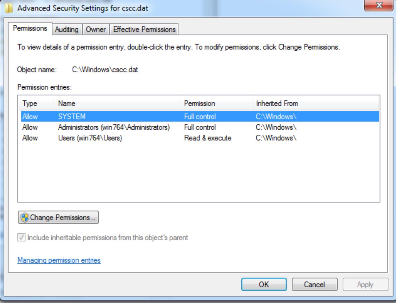 advanced permissions window