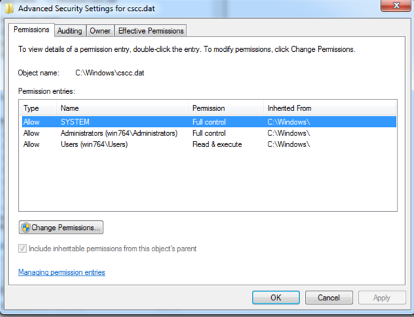 advanced permissions window