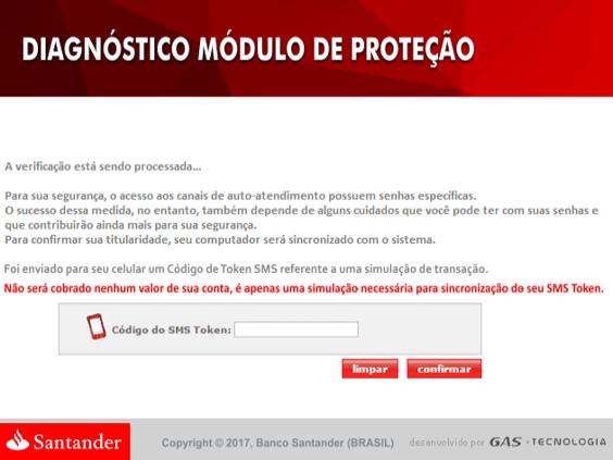 Santander Bank message