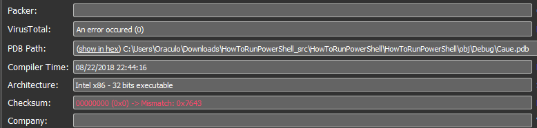 "PDB path that points to ""HowToRunPowerShell"""