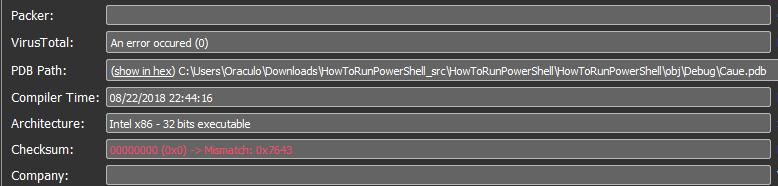 "PDB path that points to ""HowToRunPowerShell"""