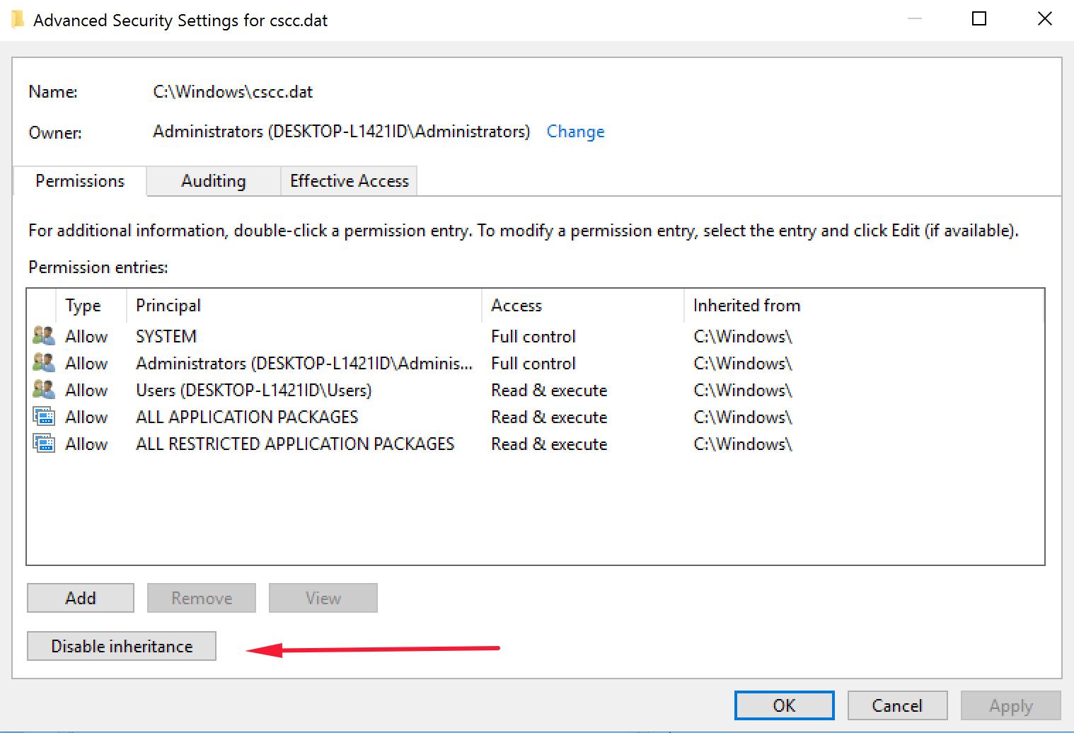 Windows 10 step disable inheritance