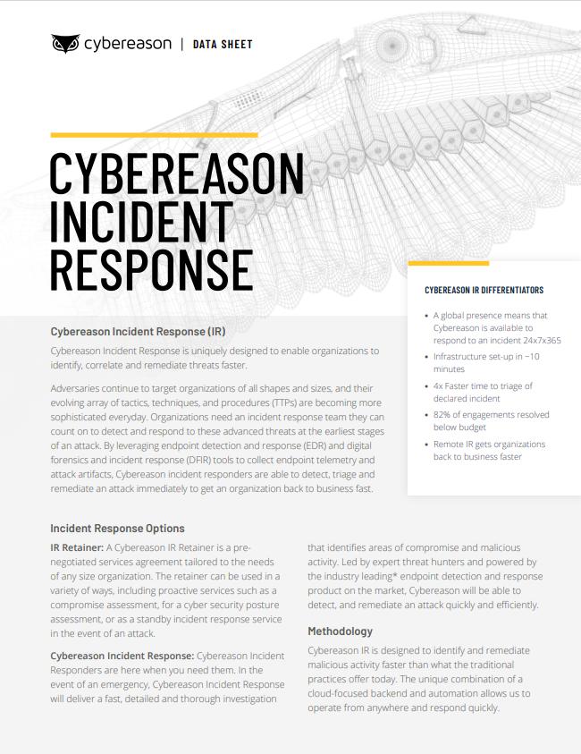 Incident Response Datasheet