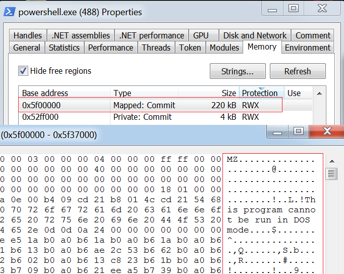 powershell injected